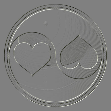 yinyang: Metal relief yin-yang heart symbol Stock Photo