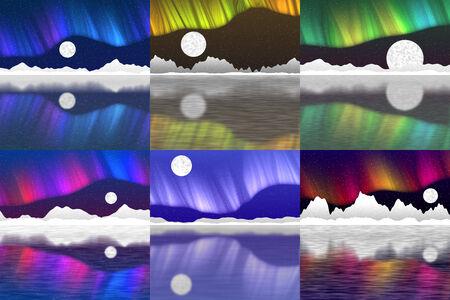 Set of arctic pole landscape generated background photo
