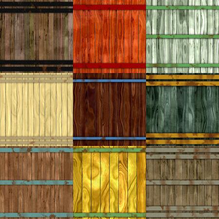 barrel tile: Set of wood barrel generated seamless textures Stock Photo