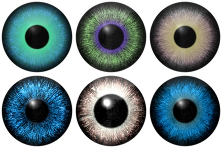 dilated pupils: Set of eye iris generated textures