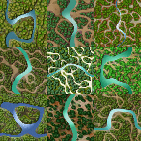 birds eye view: Set of mini landscape seamless generated backgrounds