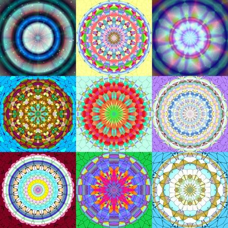 Set of mandala ornament generated textures