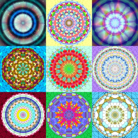 Set of mandala ornament generated textures Stock Photo - 34406259