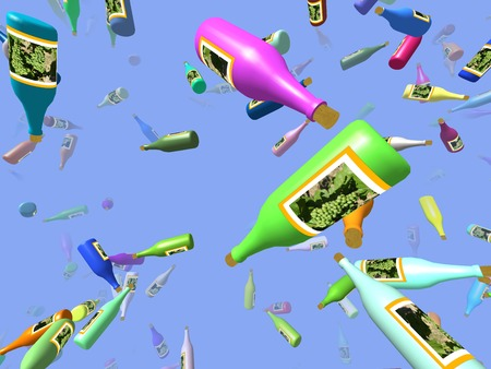 generated: Flying bottles generated 3D background