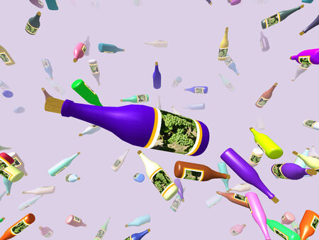 bash: Flying bottles generated 3D background