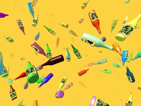 specular: Flying bottles generated 3D background