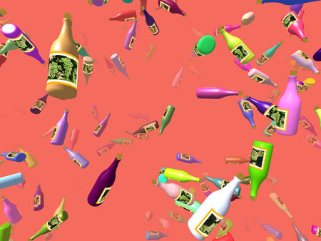 thrash: Flying bottles generated 3D background