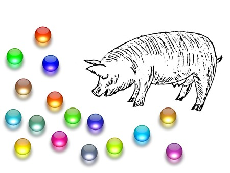 Casting pearls before swine Stock Photo