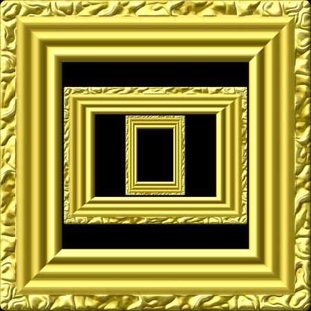Golden picture frame generated isolated texture photo