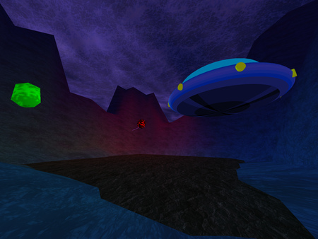 murk: Dark crater with UFO in mountains background