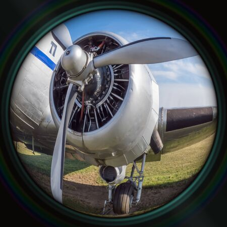 aircraft rivets: Old airplane engine in objective lens Stock Photo