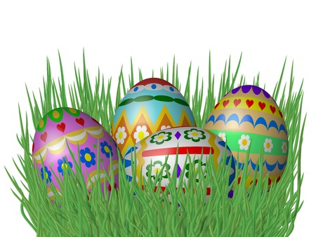 grass isolated: Easter eggs on grass isolated on white background Stock Photo