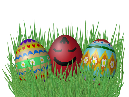 sward: Easter eggs on grass isolated on white background Stock Photo