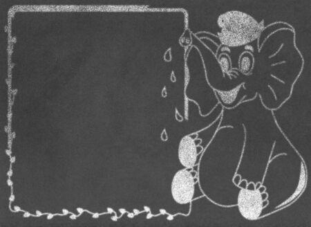 school bills: Elephant with message box on chalkboard Stock Photo