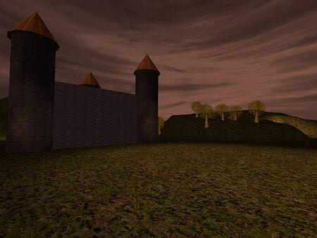 dusky: Dark landscape with castle