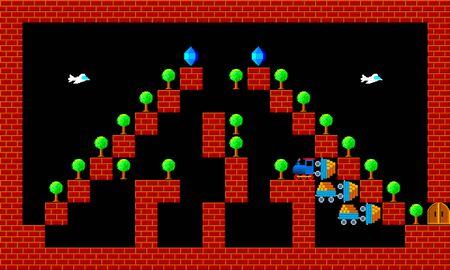 pixelated: Train, retro style game pixelated graphics