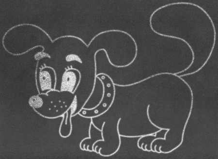 drool: Little dog on chalkboard