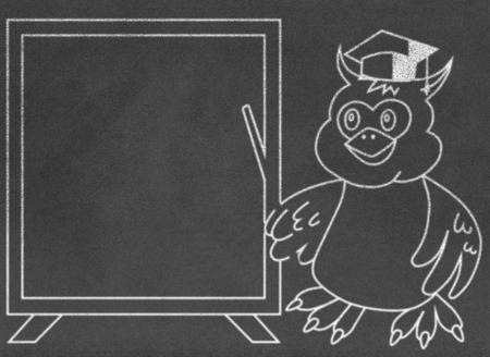 fescue: Wise owl teacher on chalkboard