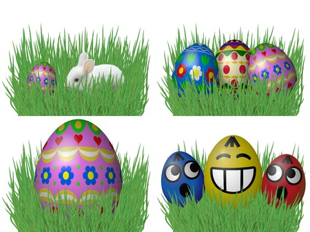 sward: Set of easter eggs on grass