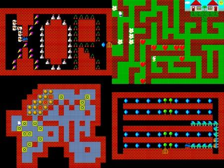 pixelate: Set of retro style game pixelated graphics Stock Photo
