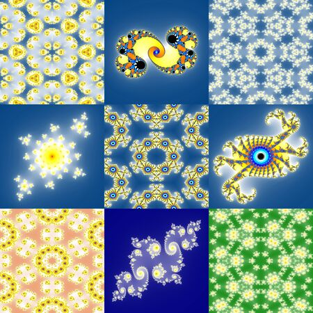 fantastical: Set of fractal floral patterns Stock Photo