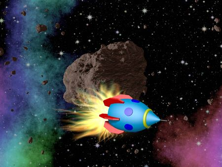 outerspace: Rocket in outerspace with asteroid