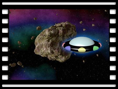 estrella caricatura: Marco de pel�cula con el asteroide y el cohete