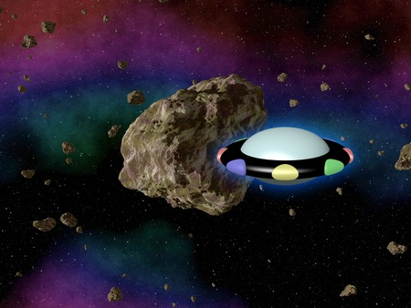 outerspace: UFO in outerspace with asteroid Stock Photo
