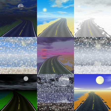 seacoast: Set of abstract landscape generated backgrounds Stock Photo