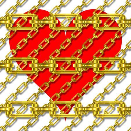 festones: Cadenas de hierro con la textura del coraz�n Foto de archivo