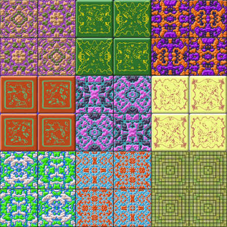 glazed: Set of glazed tiles seamless generated textures