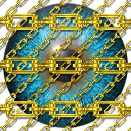 fetter: Iron chains with eye iris texture Stock Photo