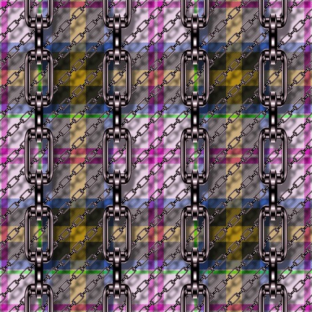 Iron chains with tartan seamless texture