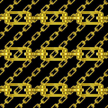 fetter: Golden chains with black background seamless texture Stock Photo