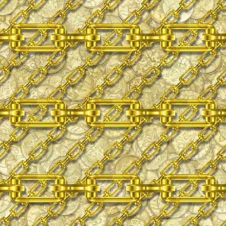 festones: Cadenas de hierro con el dinero textura perfecta