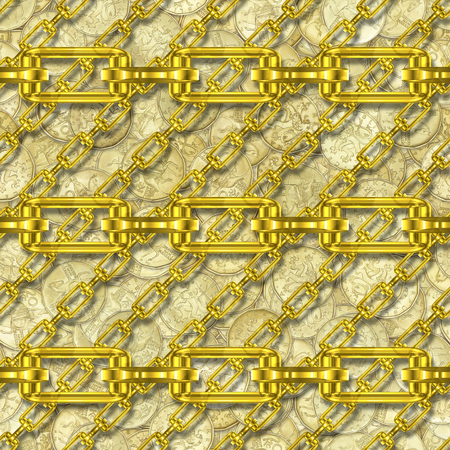 festoons: Iron chains with money seamless texture