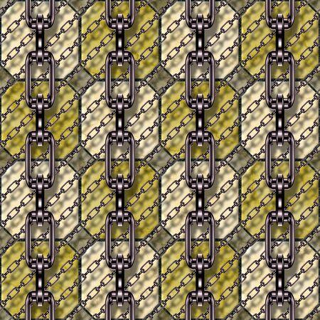 festones: Cadenas de hierro con azulejos esmaltados textura sin fisuras Foto de archivo