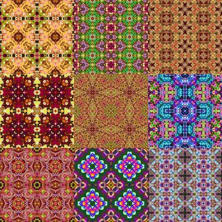 Set of kaleidoscopic seamless generated textures Stock Photo