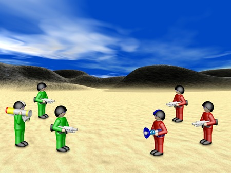 Toy soldiers in sunny landscape