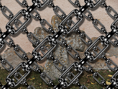 rood: Iron chain with cross at cemetery Stock Photo