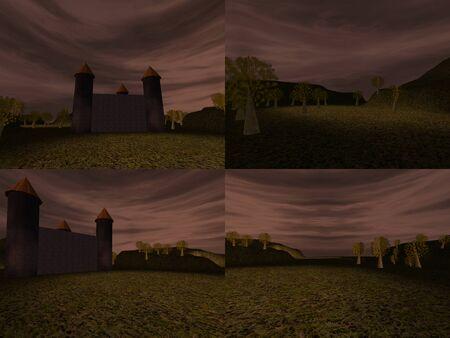 dusky: Set of dark landscape with castle