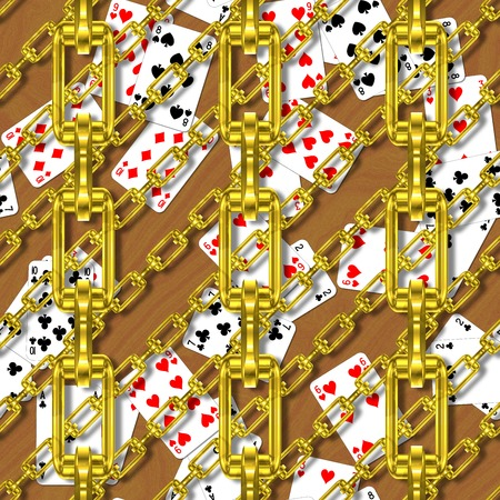 festoons: Iron chains with playing cards seamless texture