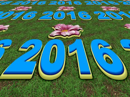 blue flower: Happy New Year 2016 perspective image