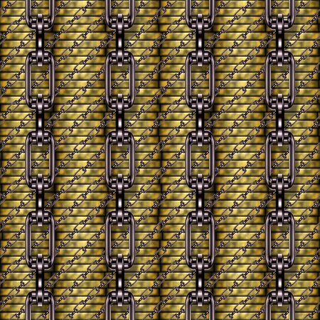 fetter: Iron chains with money seamless texture