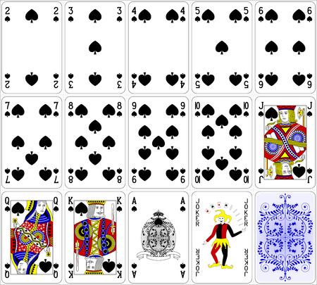 jeu de carte: Cartes de poker Spade mis quatre couleurs design classique 600 dpi Illustration