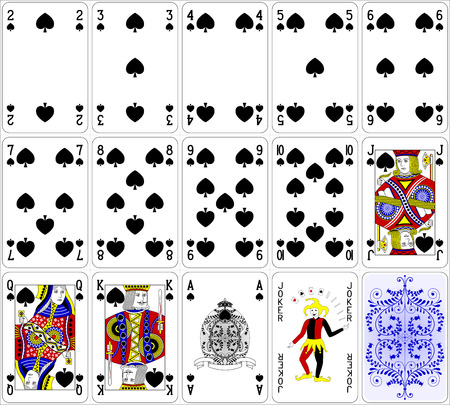 deck of cards: Poker cards spade set four color classic design 600 dpi