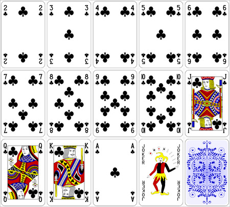 hand with card: Poker cards club set four color classic design 600 dpi