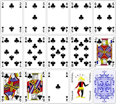 Pokerkaarten club set vier kleuren klassiek ontwerp 600 dpi