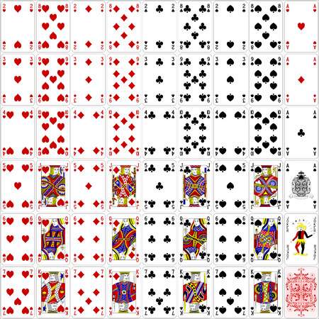 king and queen of hearts: Poker cards full set four color classic design 400 dpi