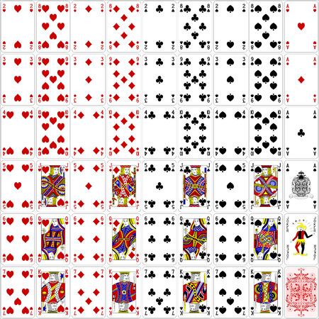 cartas de poker: Tarjetas del p�ker completo conjunto de cuatro colores dise�o cl�sico 400 dpi